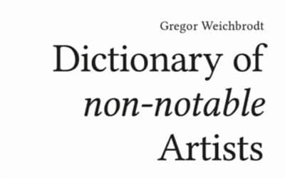 """Neues zum """"Dictionary of non-notable Artists"""""""